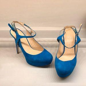High heel suede shoes